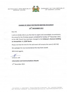 Change of venue for Prayer Meeting 001