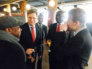 Ambassador Stevens having a brief chat with the Consul and the Chairman of the Sierra Leonean Community in Hamburg